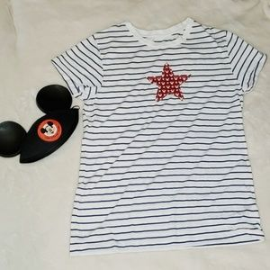 DisneyParks. Red white and blue top.